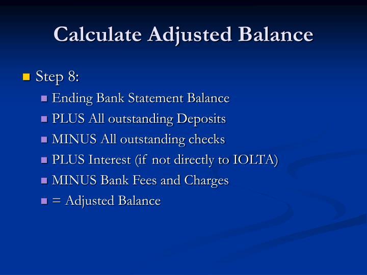 Calculate Adjusted Balance