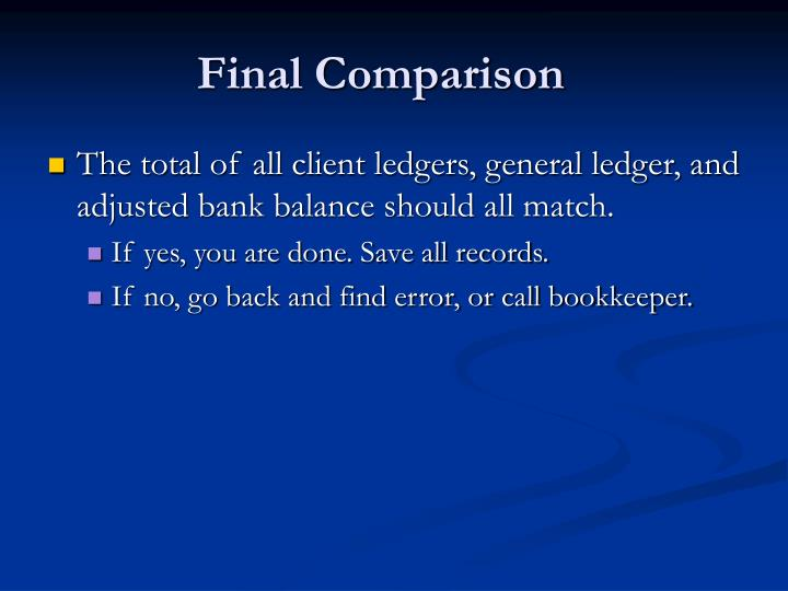 Final Comparison