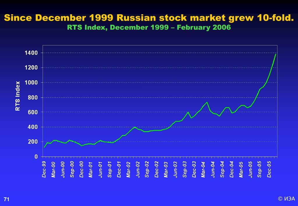 Since December 1999 Russian stock market grew 10-fold.