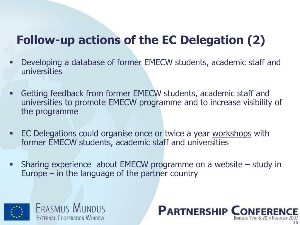 Developing a database of former EMECW students, academic staff and universities