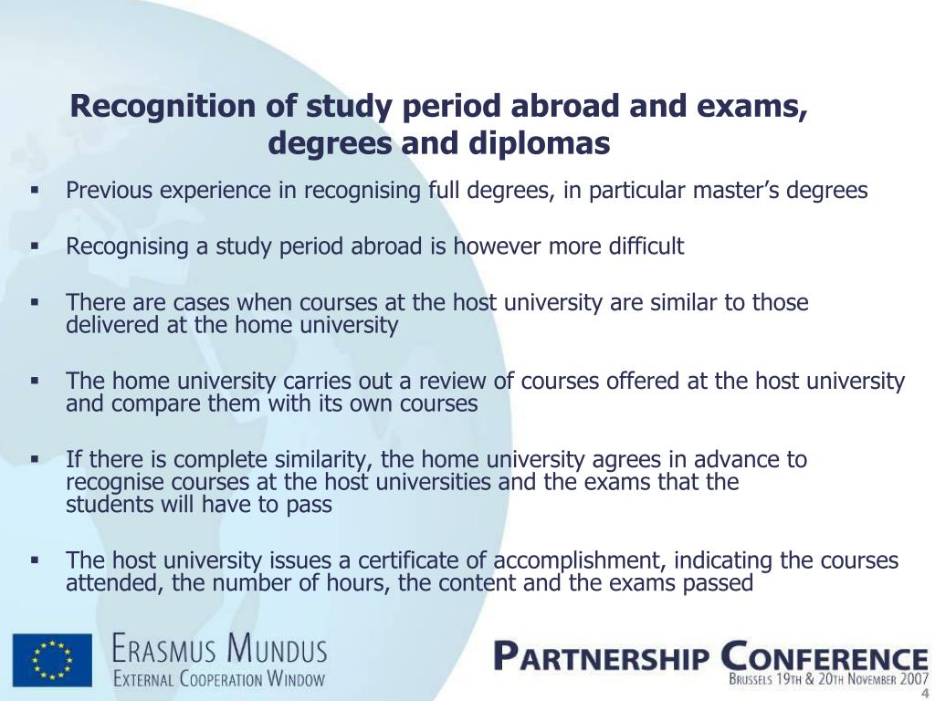 Previous experience in recognising full degrees, in particular master's degrees