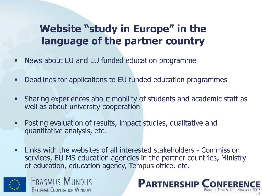 "Website ""study in Europe"" in the"