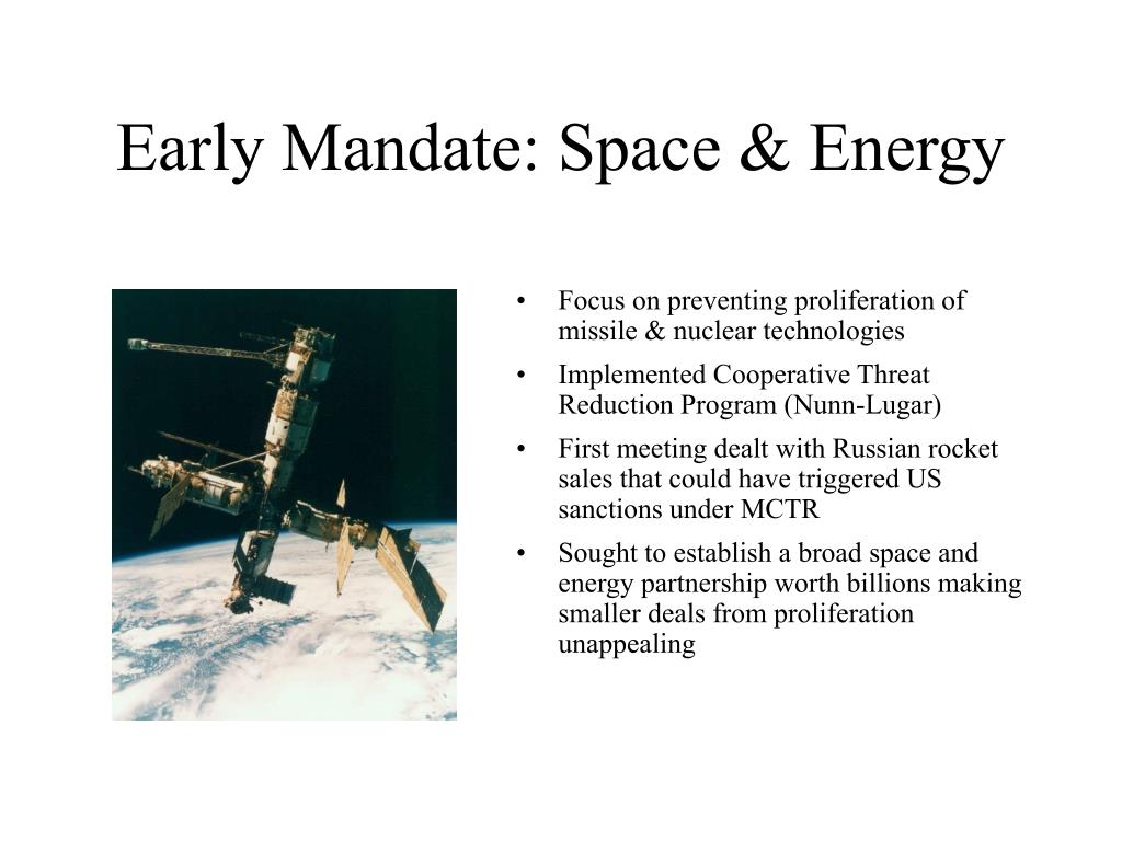 Early Mandate: Space & Energy