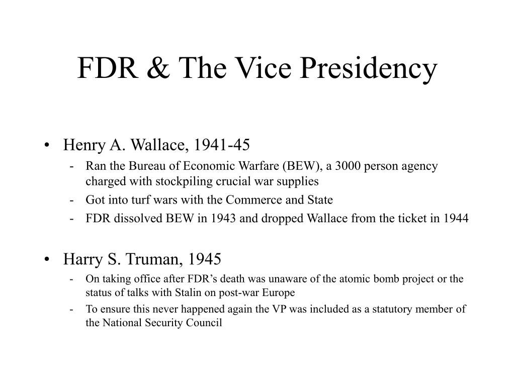 FDR & The Vice Presidency