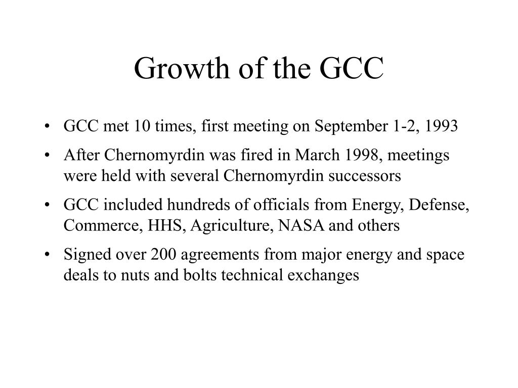 Growth of the GCC