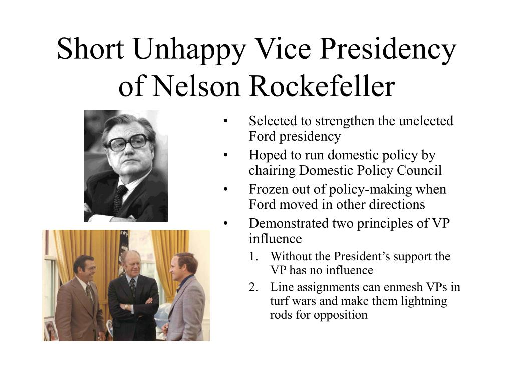 Short Unhappy Vice Presidency of Nelson Rockefeller