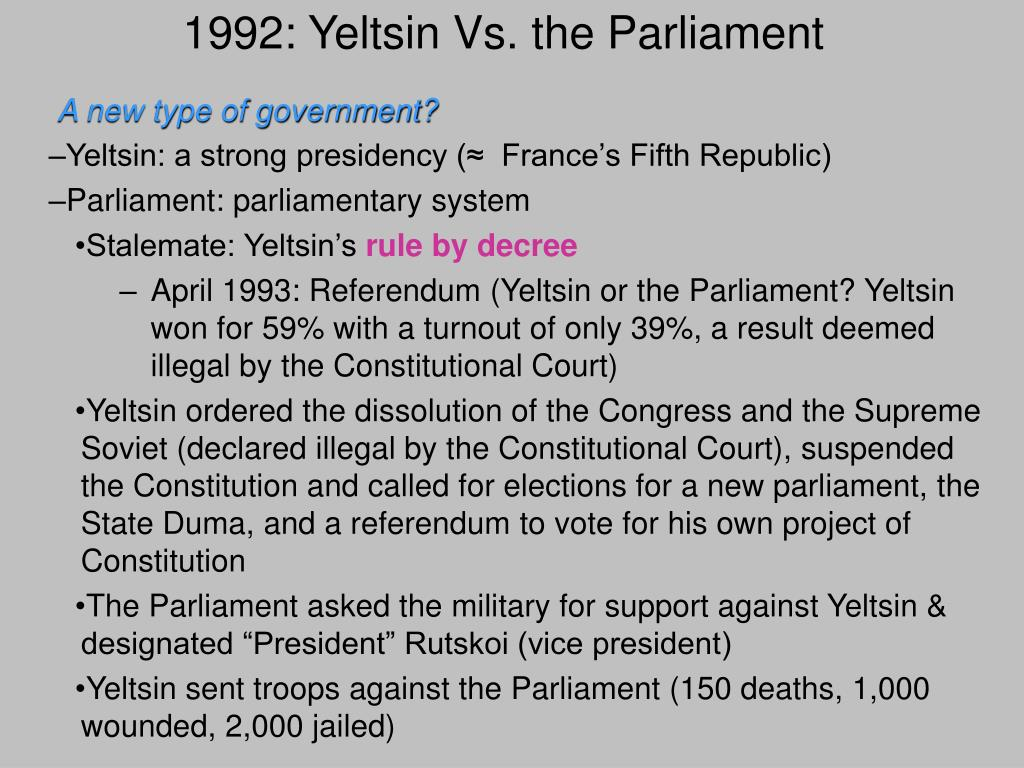 1992: Yeltsin Vs. the Parliament