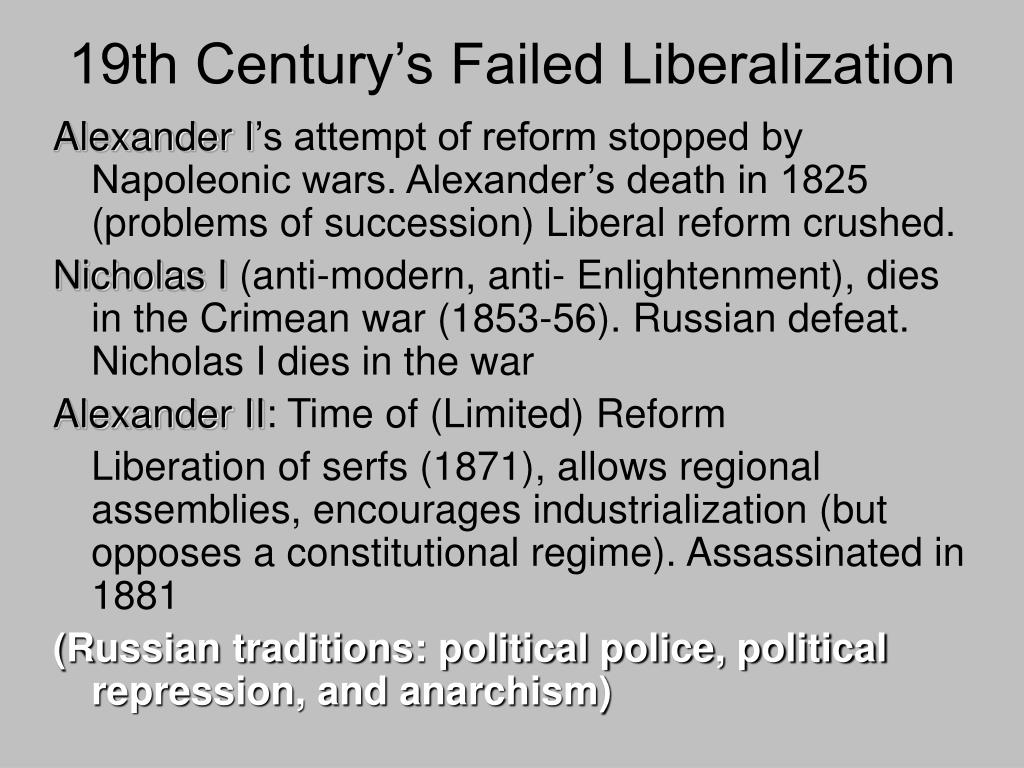 19th Century's Failed Liberalization