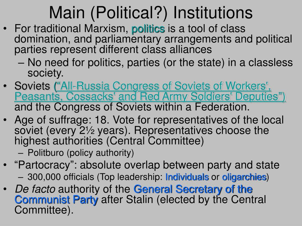 Main (Political?) Institutions