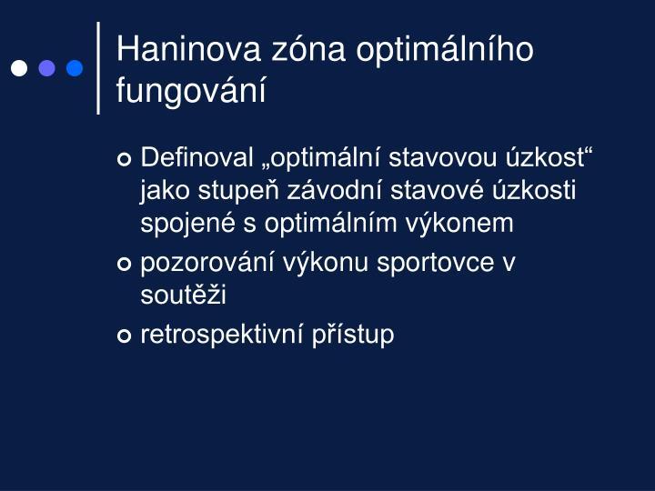 Haninova zóna optimálního fungování