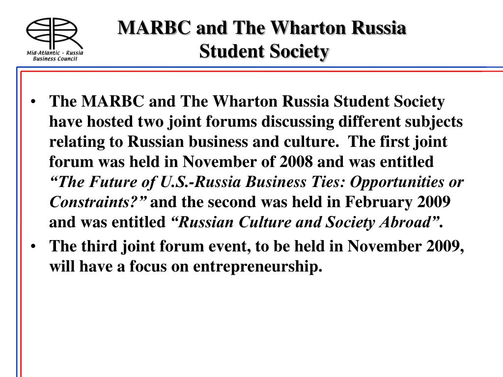 MARBC and The Wharton Russia