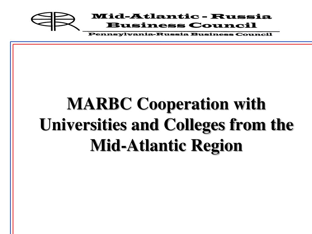 MARBC Cooperation with Universities and Colleges from the Mid-Atlantic Region