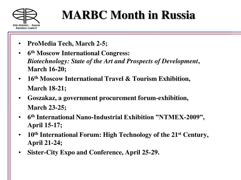 MARBC Month in Russia