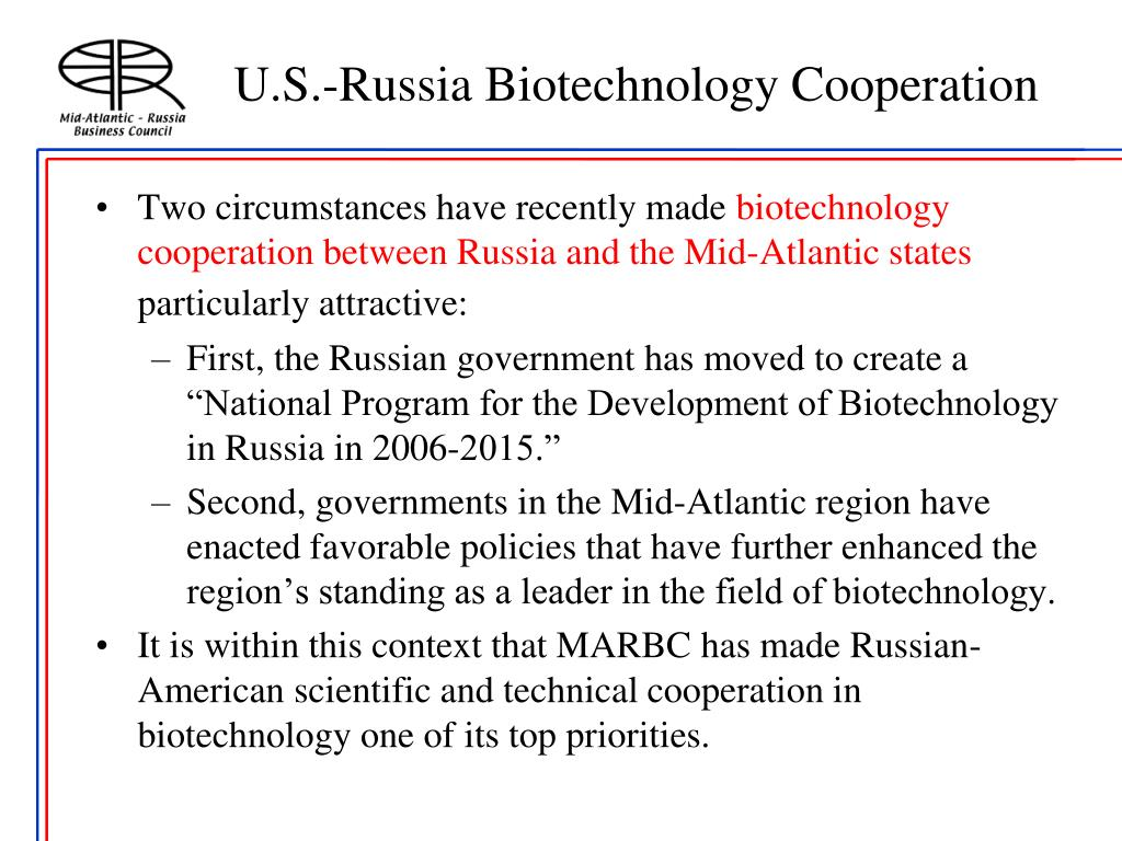 U.S.-Russia Biotechnology Cooperation
