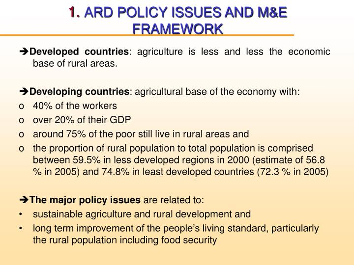 1 ard policy issues and m e framework