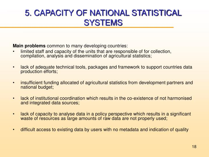 5. CAPACITY OF NATIONAL STATISTICAL SYSTEMS
