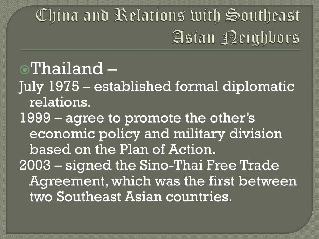 China and Relations with Southeast Asian Neighbors