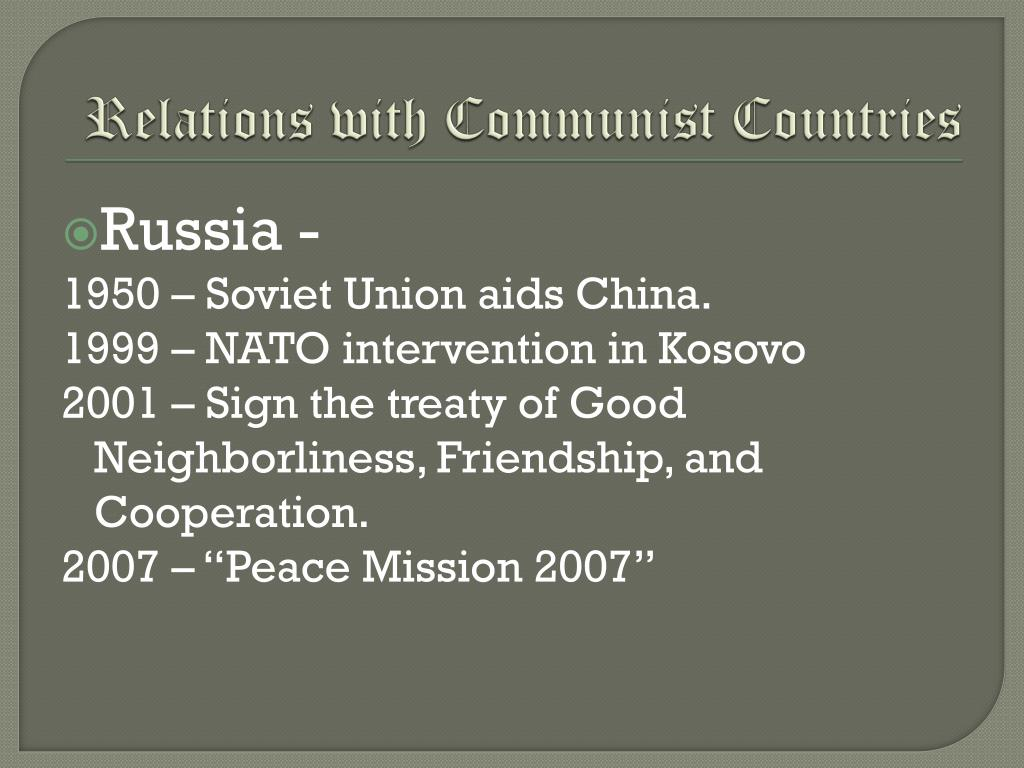 Relations with Communist Countries