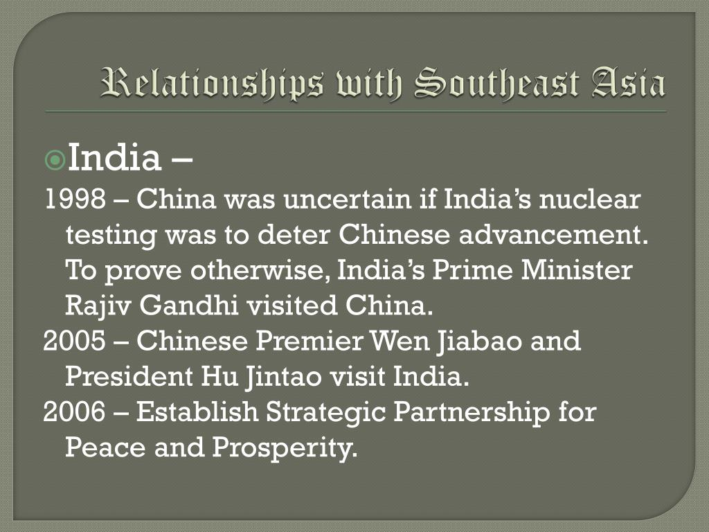 Relationships with Southeast Asia