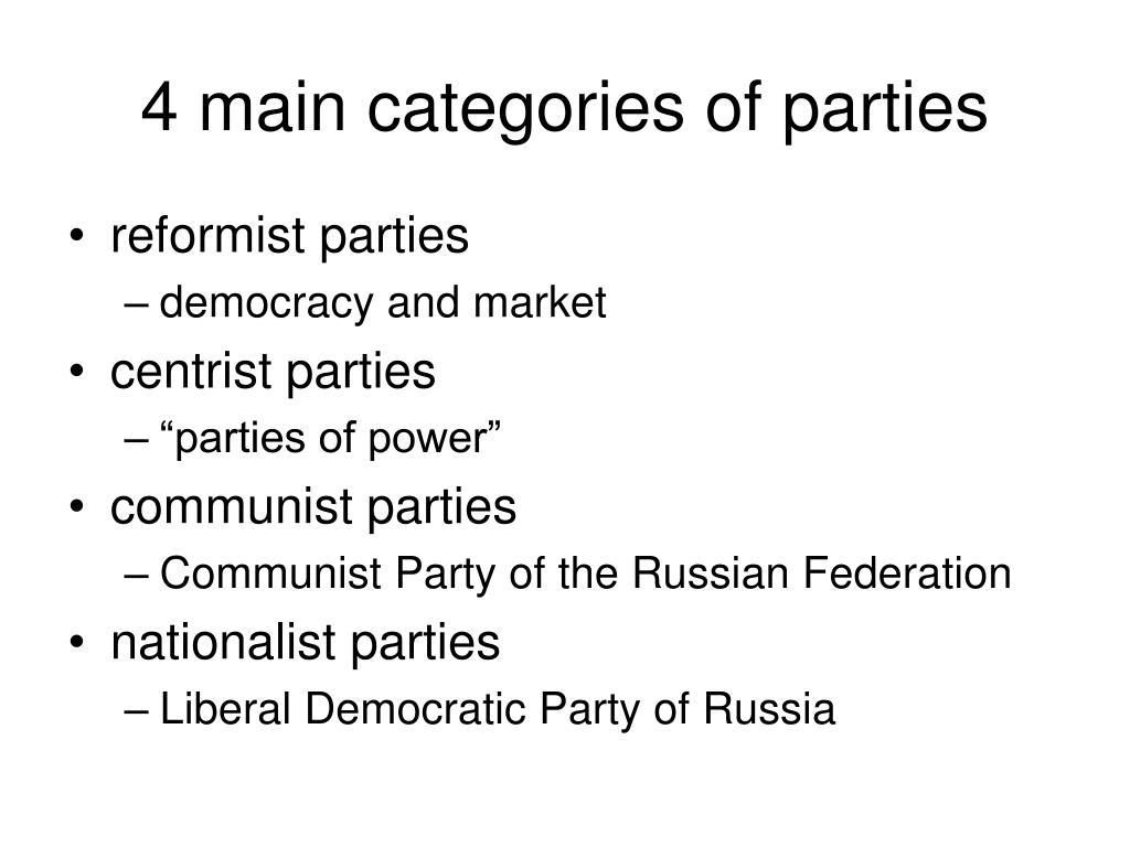 4 main categories of parties