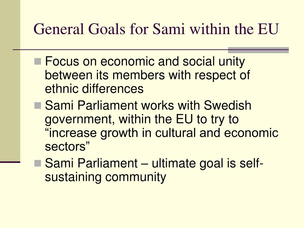 General Goals for Sami within the EU