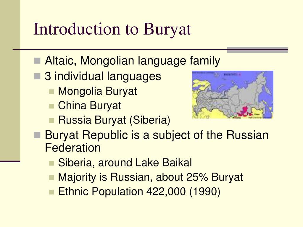 Introduction to Buryat
