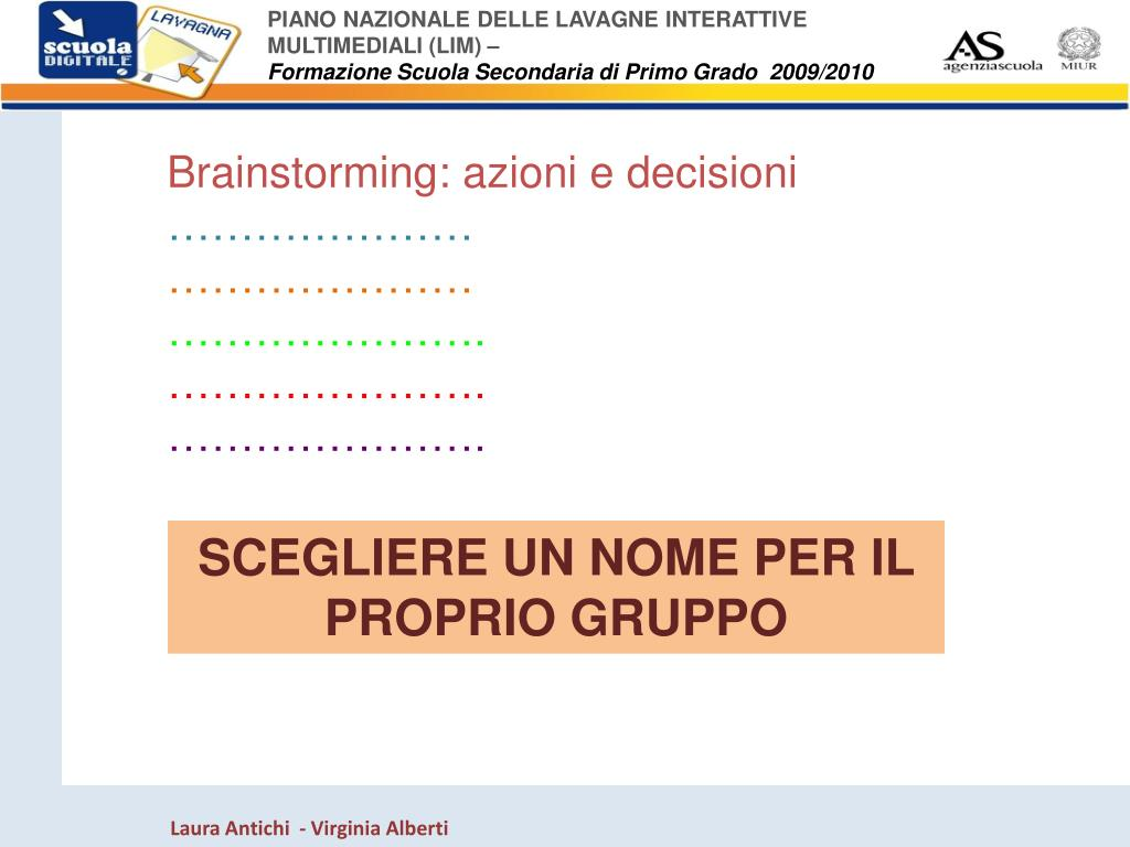 Brainstorming: azioni e decisioni