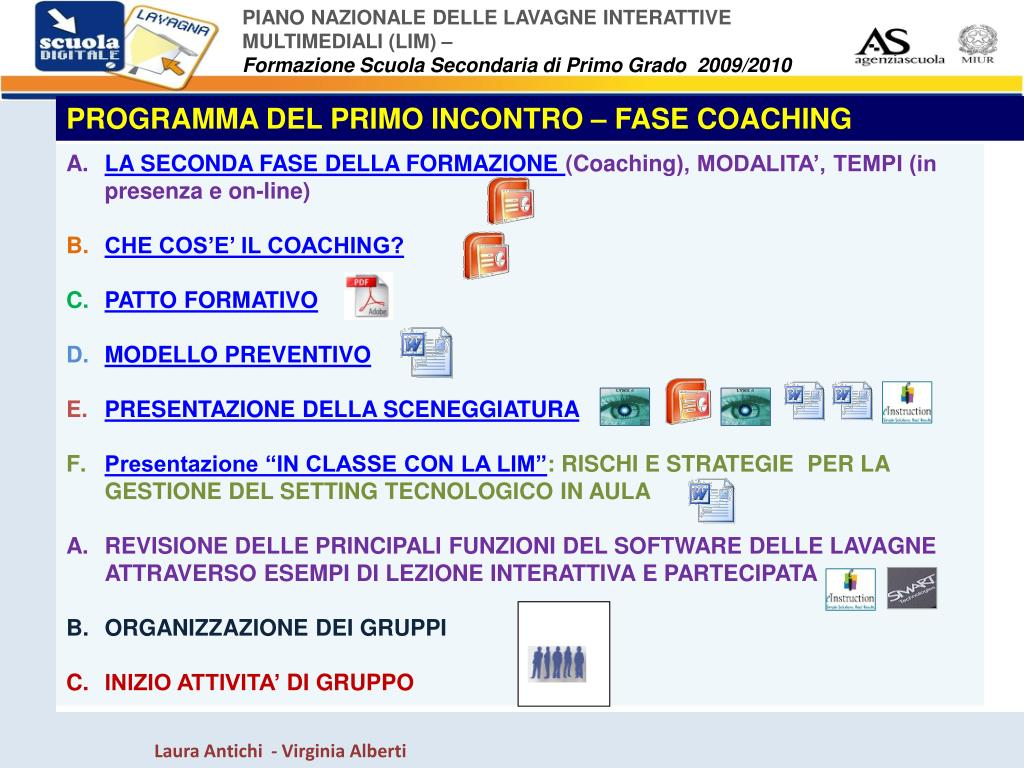 PROGRAMMA DEL PRIMO INCONTRO – FASE COACHING