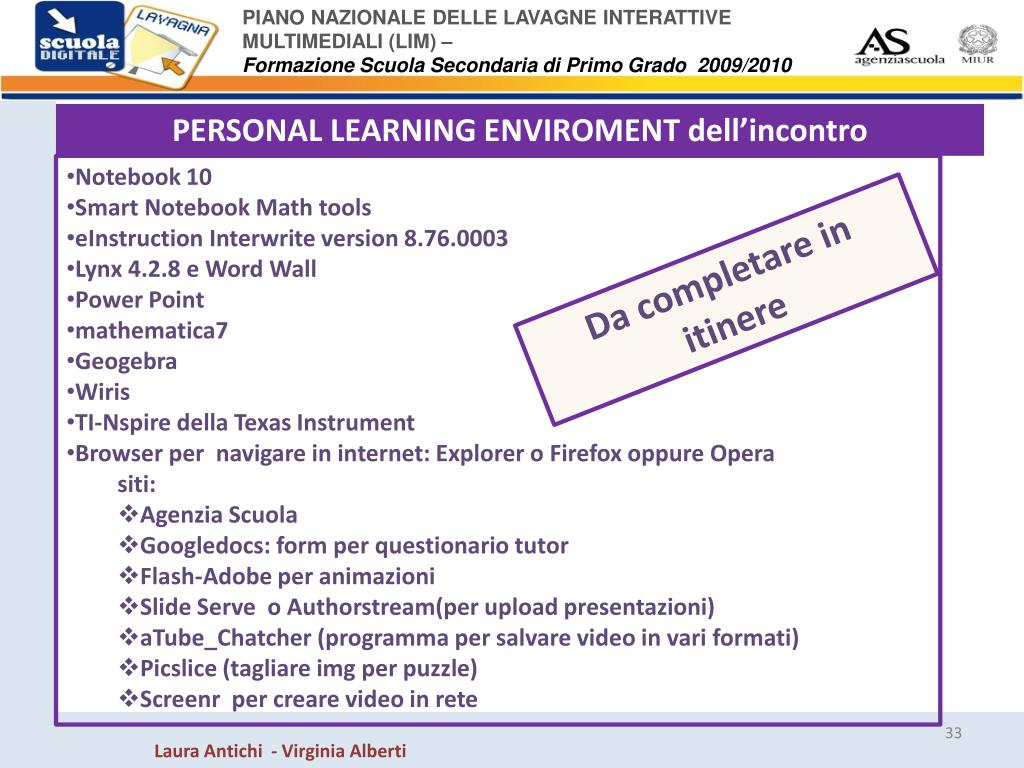 PERSONAL LEARNING ENVIROMENT dell'incontro