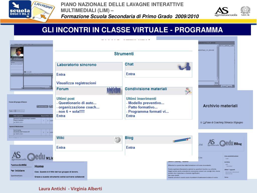 GLI INCONTRI IN CLASSE VIRTUALE - PROGRAMMA