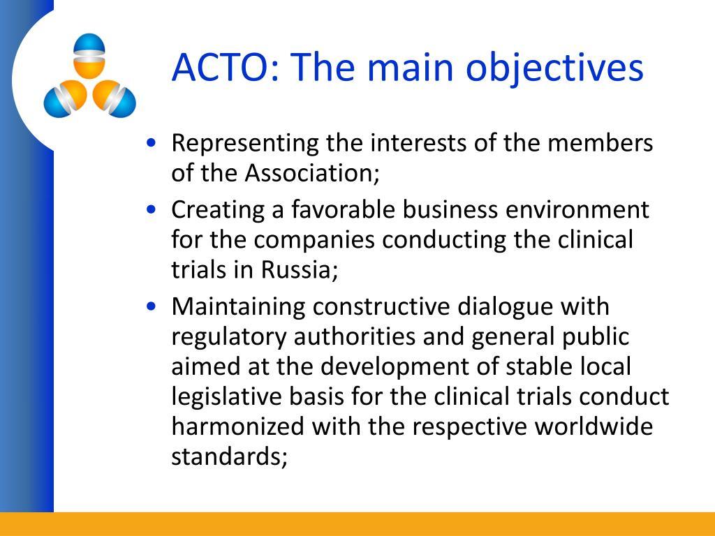 ACTO: The main objectives
