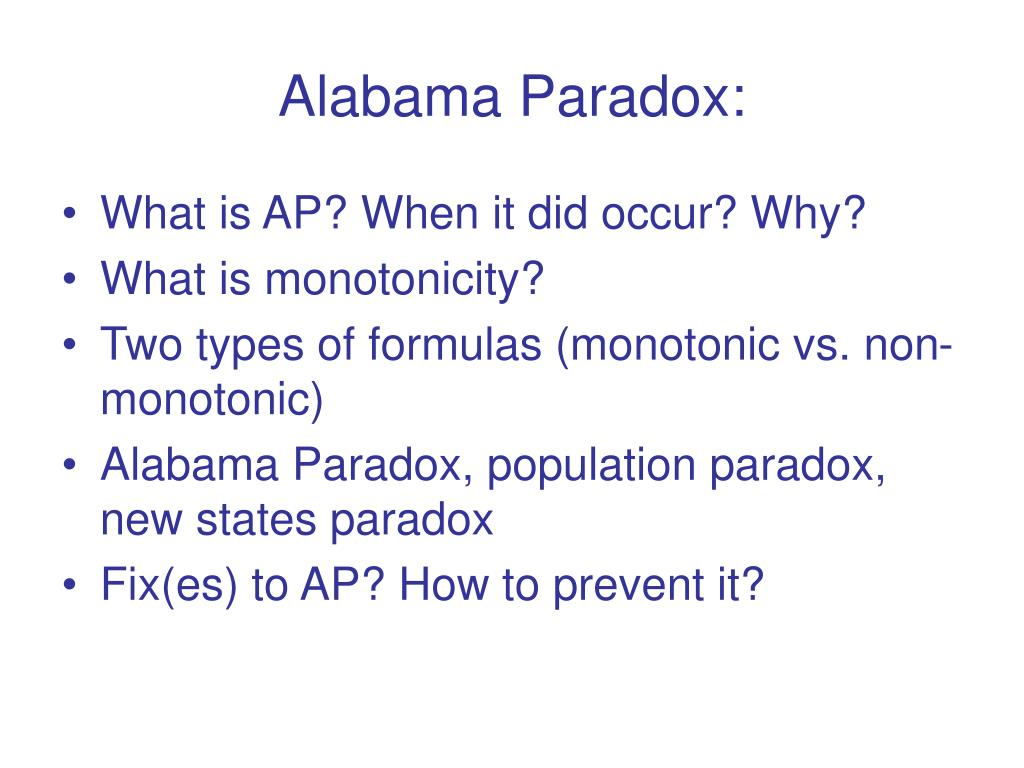 Alabama Paradox: