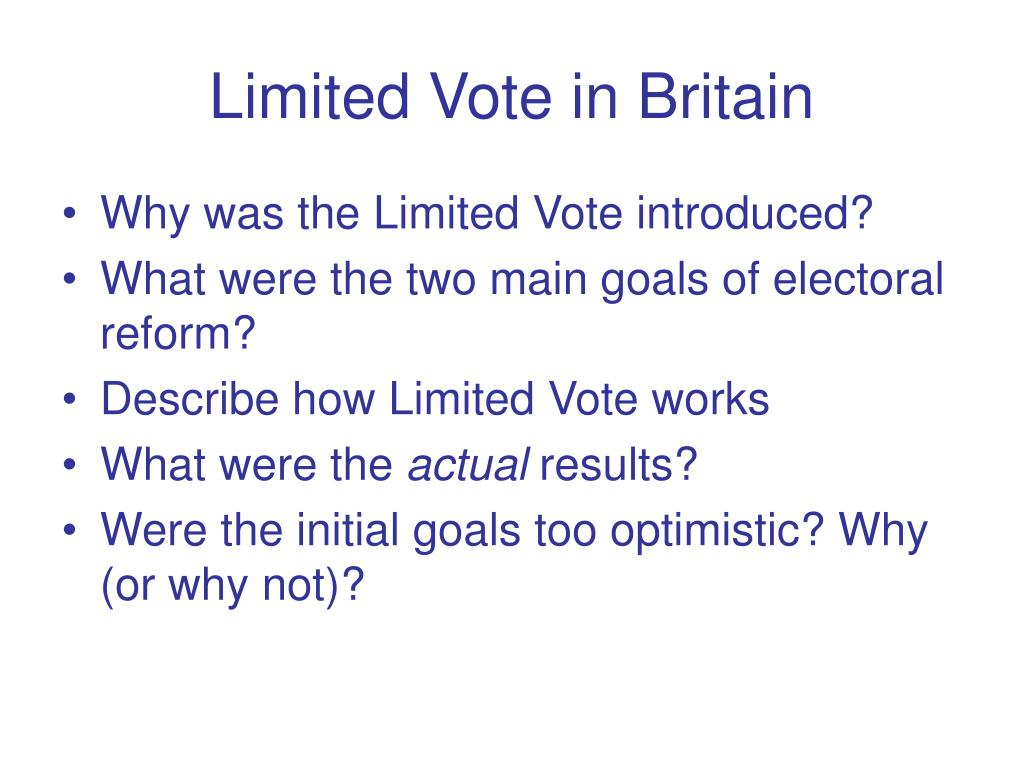 Limited Vote in Britain