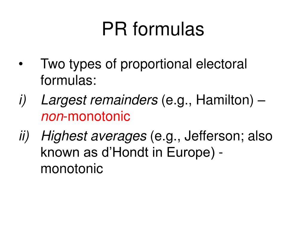 PR formulas