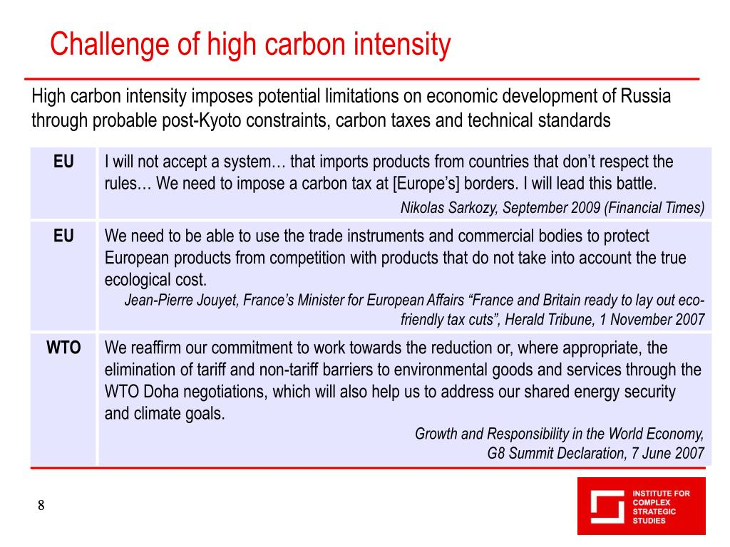 Challenge of high carbon intensity