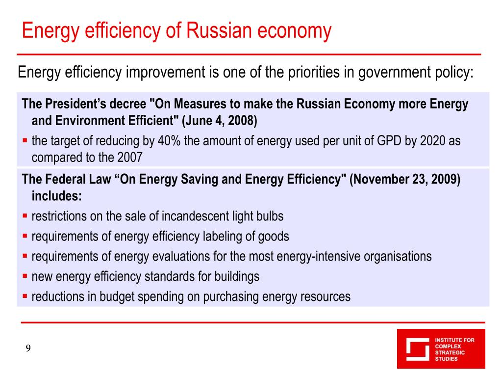 Energy efficiency of Russian economy