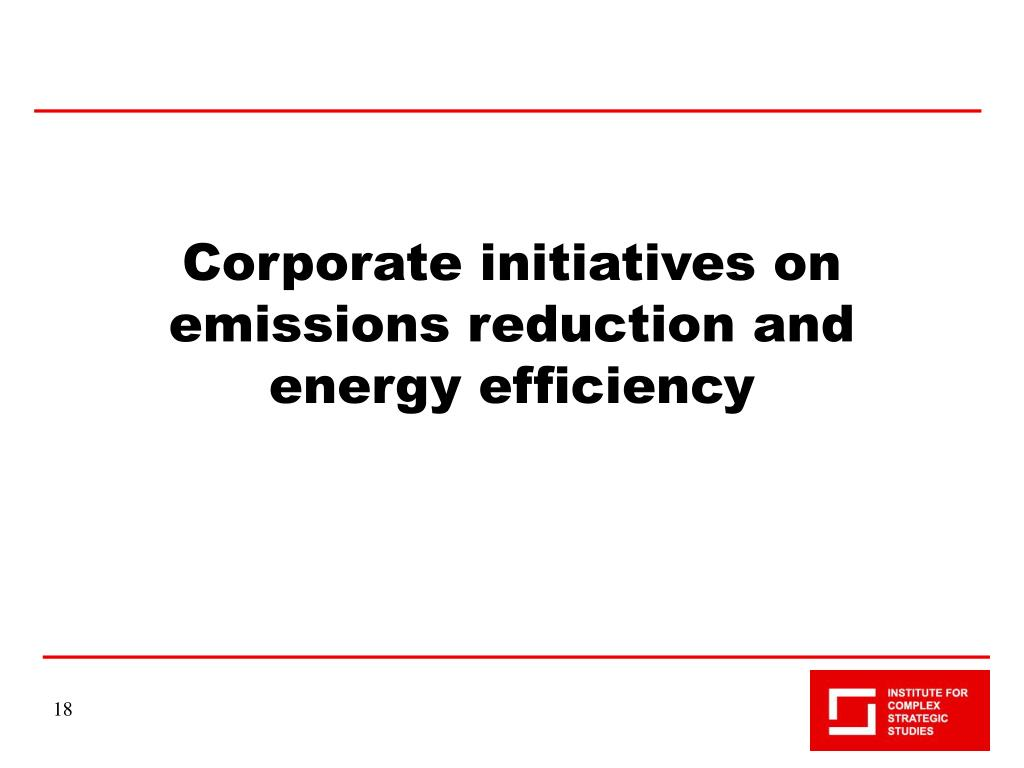 Corporate initiatives on emissions reduction and energy efficiency