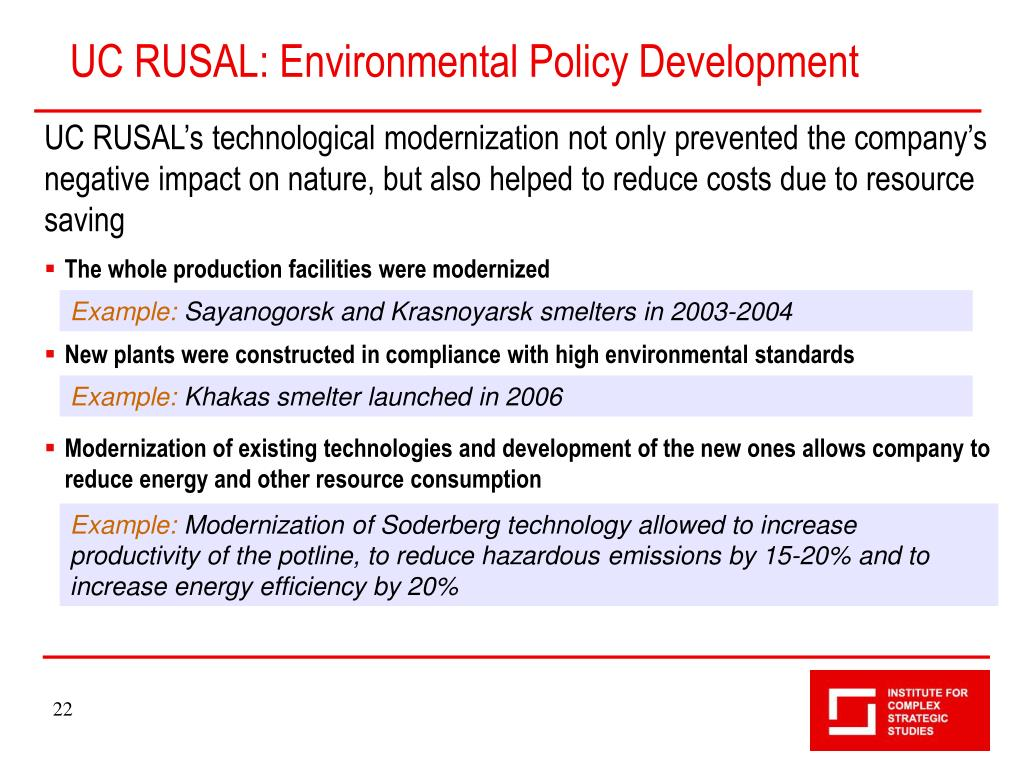UC RUSAL: Environmental Policy Development