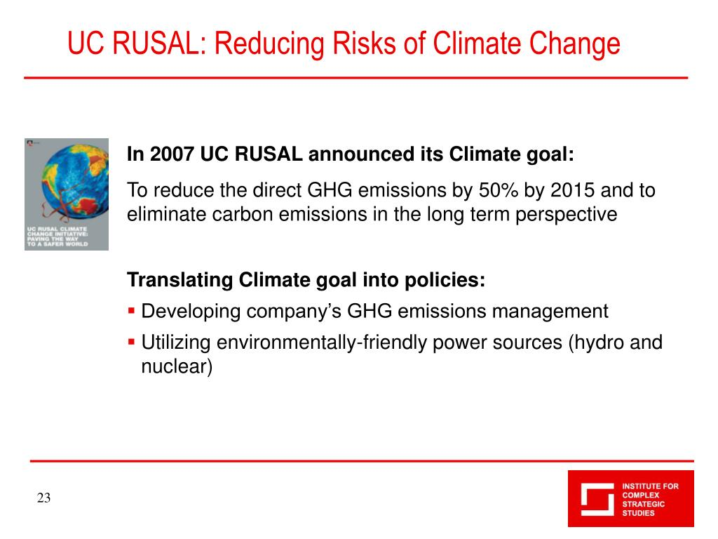 UC RUSAL: Reducing Risks of Climate Change