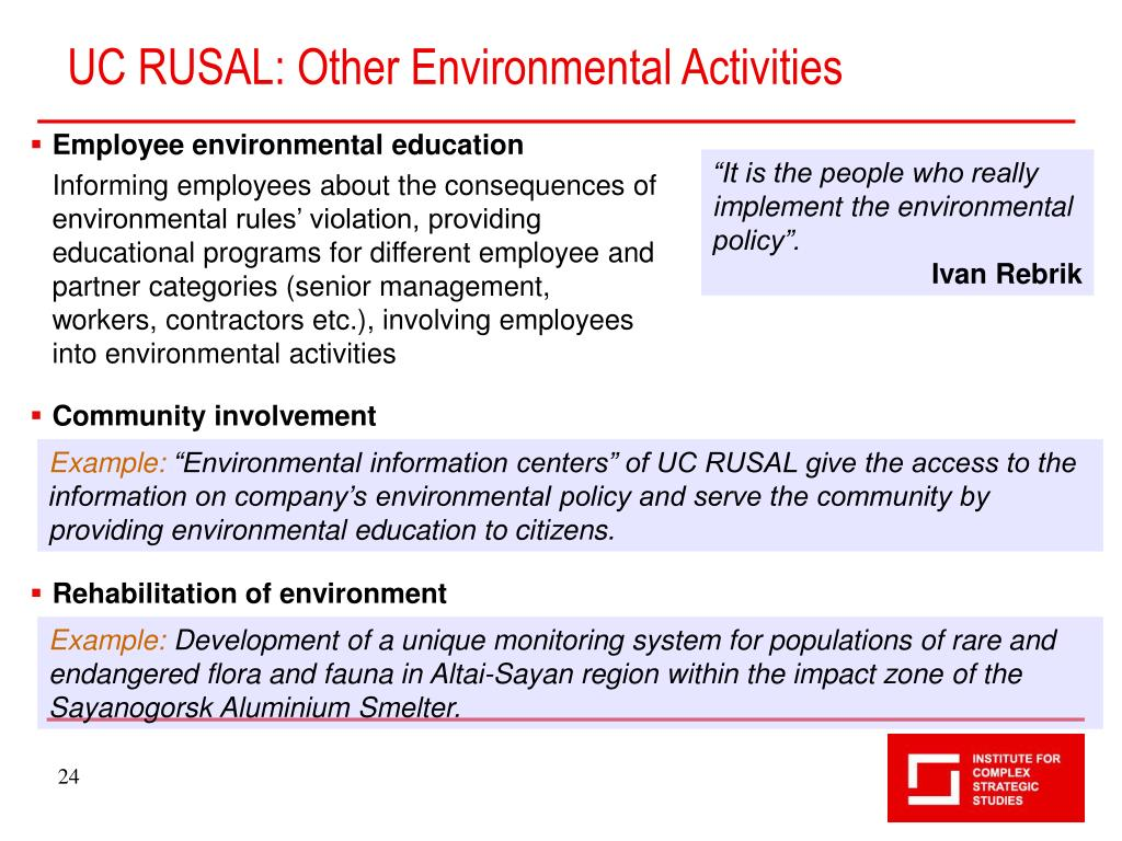 UC RUSAL: Other Environmental Activities