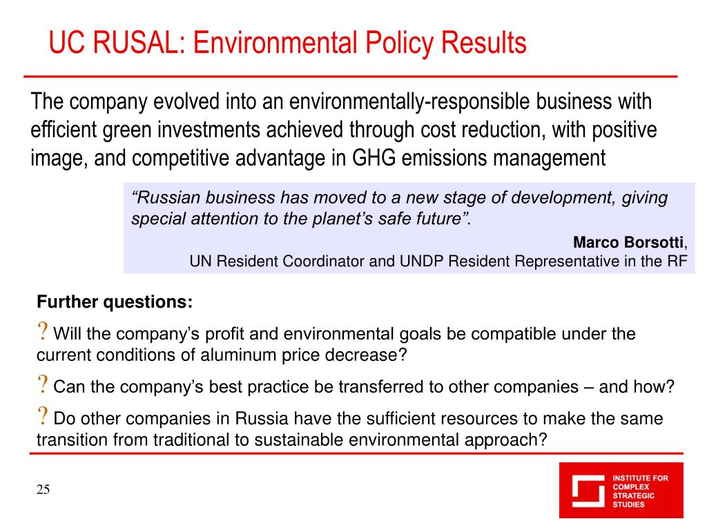 UC RUSAL: Environmental Policy Results