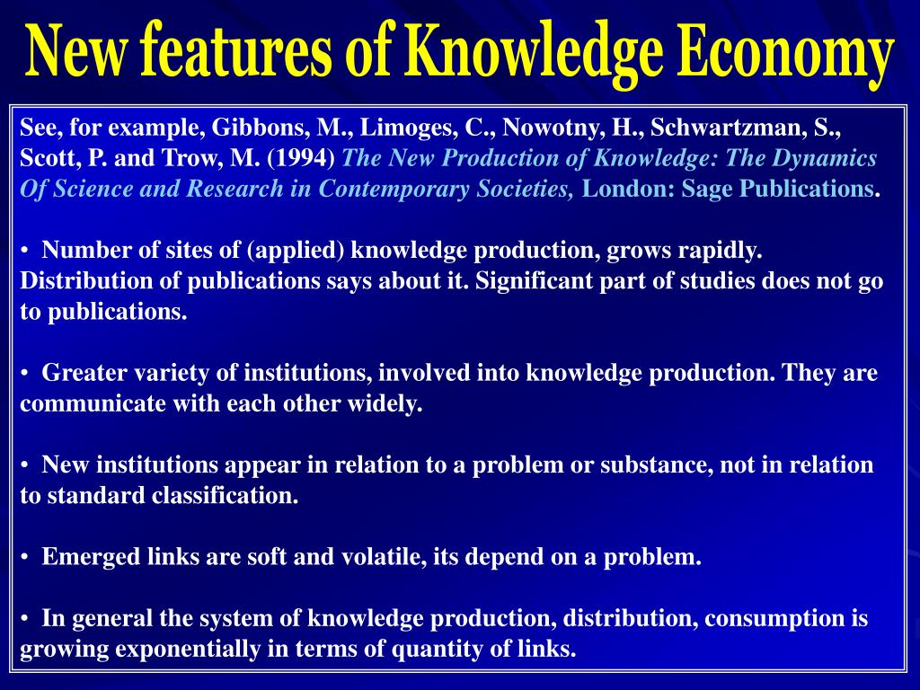 New features of Knowledge Economy