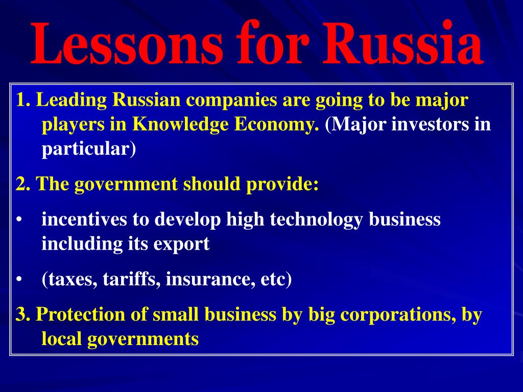 Lessons for Russia
