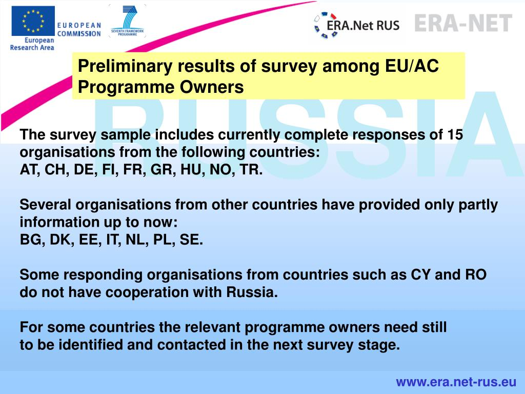 Preliminary results of survey among EU/AC Programme Owners