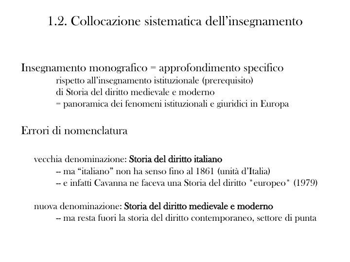 1.2. Collocazione sistematica dell'insegnamento