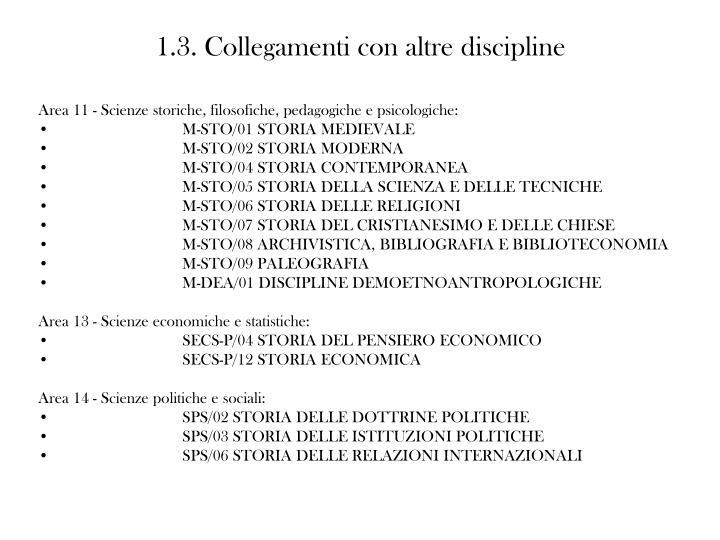 1.3. Collegamenti con altre discipline