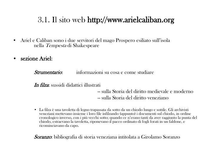 3.1. Il sito web