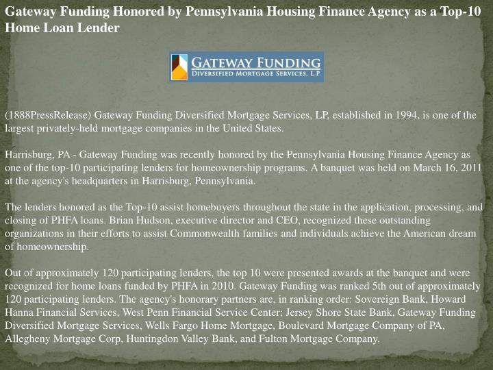 Gateway Funding Honored by Pennsylvania Housing Finance Agency as a Top-10 Home Loan Lender