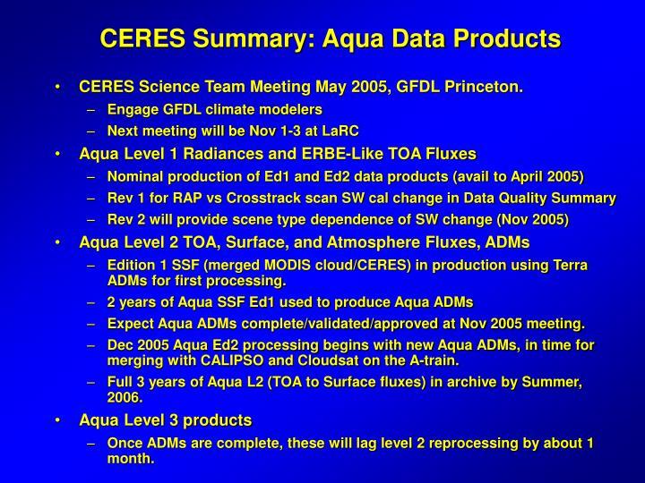 CERES Summary: Aqua Data Products