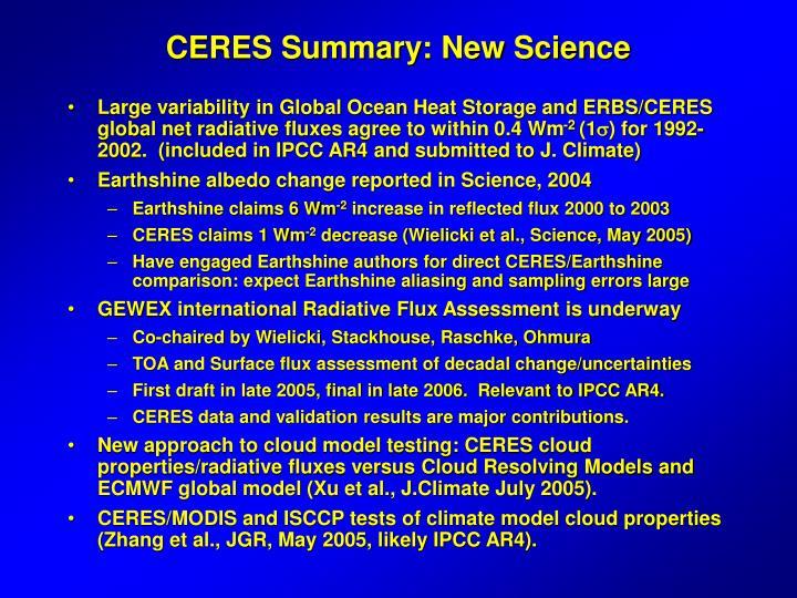 CERES Summary: New Science